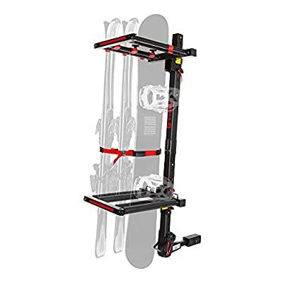 "Tyger Auto TG-RK1B707B Folding Hitch-Mounted Ski/Snowboard Rack Fits 2"" or 1.25"" Receiver Carries 6 Pair Skis or 4 Snowboards 
