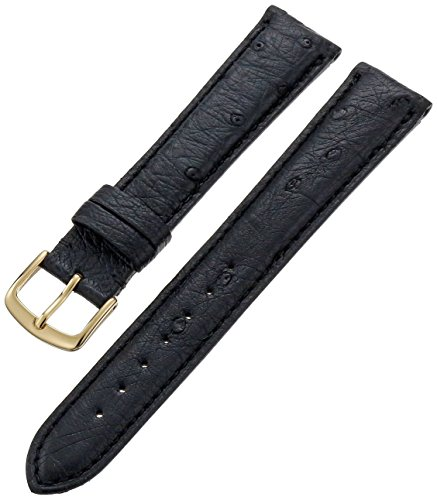 MS-2003 Black 20mm Genuine Ostrich Exotic Men's Leather Hadley-Roma