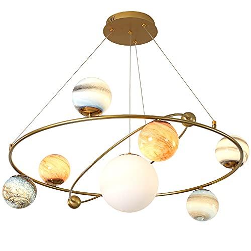OURLOVEII LED Planeta Bola de Cristal Lámpara Colgante Regulable Colgante de Luz Modernas Sala de Estar Luces Colgantes Altura Ajustable Mesa De Comedor Cocina Comedor Dormitorio