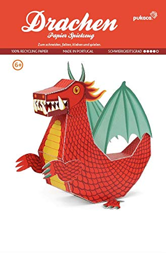 Forum Traiani Bastelbogen Drache rot, Groß , Pukcaka DIY Bastelbögen Papier-Karton für Kindergeburtstag als Geschenkidee, Bastelidee für Jungs