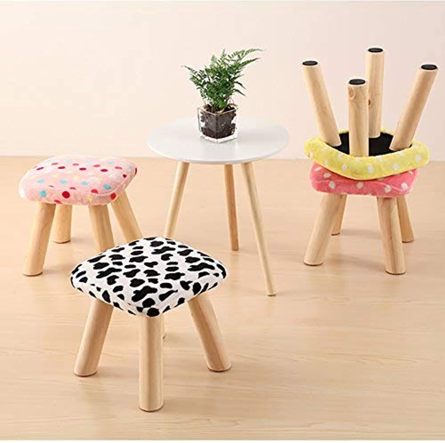 DEED Creative shoes Stool-Stool Footstool Square Small Mushroom Flannel Solid Wood Legs Household Change shoes Small Bench,Home Stool