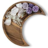 Moon Tray Crystal Holder and Display - Walnut Wood Crystal Tray for Stones, Healing Crystals and Gemstones Storage and Organizer Stand - Crescent Moon Bowl - Essential Oil Holder - Jewelry Dish Tray