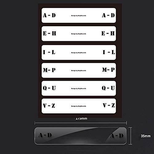 LZDseller01 - 6 divisores de discos de ficha del alfabeto, tarjetas de índice, divisor de discos de vinilo de música, fichas de clasificación del alfabeto, No nulo, Transparente, vertical version 365 x 50 mm