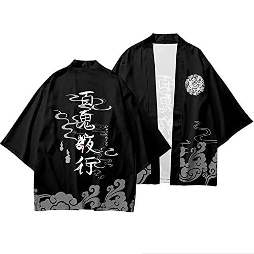 CHUIKUAJ Cárdigan Kimono Hombre - Camiseta con Estampado de Dibujos Animados Tradicionales Japoneses/Capa Chaqueta Ligera de Verano/Ropa Calle Informal Negra/Pijama Suelto Albornoz,A-5XL