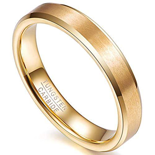 NUNCAD Ring Gold aus Wolfram für Herren Damen 4mm Hochzeitsring Jubiläumsring Partner Ring Größe 65