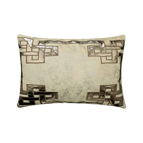 Rectangulo de disenador Marfil Lanzar fundas de almohada lumbar, 30 x 40 cm Terciopelo Griego y apliques y papel de aluminio Tirar almohadas oblongas para el sofa, Geométrico Moderno - Greek Zeus