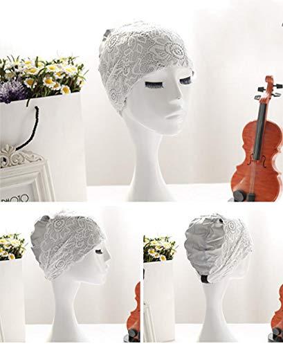 Aiyow Femmes Bonnet de Bain PU Dentelle Fleur Bonnet de Bain Bonnet de Douche Bonnets de Bain Élastique Chapeaux de Natation imperméables pour Cheveux Longs.Gris Argenté