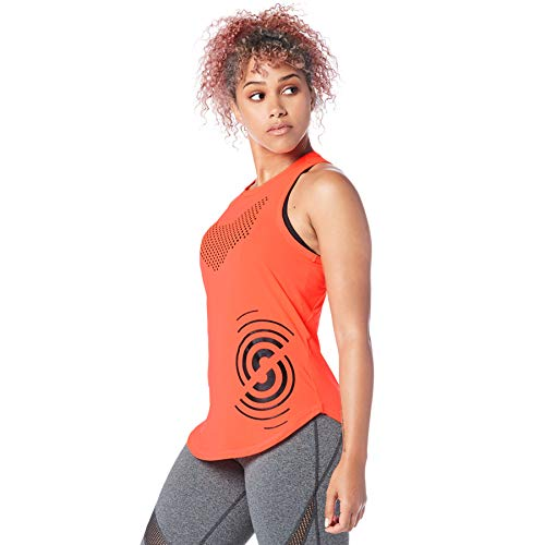 Strong iD Aktiv Slim Workout Sporttop Damen Athletic Stilvoll Fitness Tank Top, Coral Crazy, XXL