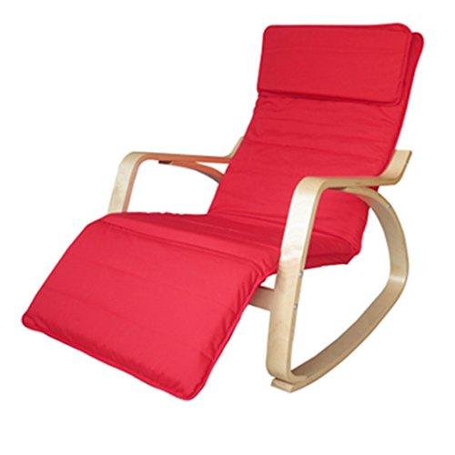 Tabouret en bois Rocking Chair Chaise Longue Nordic Loisirs Chaise Lounge Chair Rocking Chair Balcon En Bois Solide Unique Tissu Chaise D'intérieur (Couleur : Rouge)