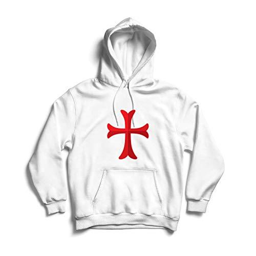 lepni.me Sudadera con Capucha El Caballero Templario de la Cruz Roja, el Templo de la Orden de Salomón (Medium Blanco Multicolor)