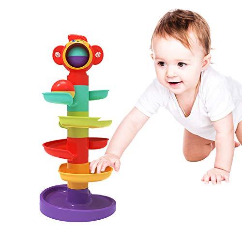5 Schicht Kugelbahn Ball Drop and Roll Wirbelnder Turm für Baby und Kleinkind Entwicklung Lernspielzeug | Stack-Drop-Go-Ramp-Spielzeug-Set GeschenkwahlAktivitätszentrum für 1-3 Jahre (Kugelbahn(Neu))