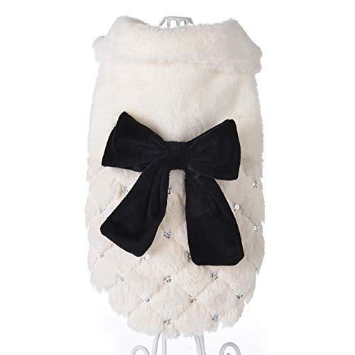 Modisch Nützliche Mode Pailletten Winter Pet Hundekleidung Elegante Weiße Welpen Haustier Katze Manteljacken Für Hunde Bow Knoten Chihuahua Kleidung Overalls Geeignet für Haustiere.