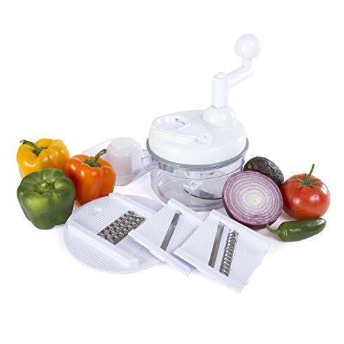 Kitchen + Home Manual Food Chopper - 5 in 1 Miracle Chopper, Salsa Maker, Blender, Slicer, Shredder and Julienne – As Seen on TV Manual Food Processor