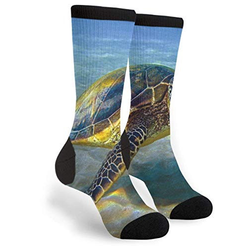 Green Sea Turtle Indian Wolf Art Casual Cool 3D Impreso Novedad Gráfico Crew Tube Calcetines