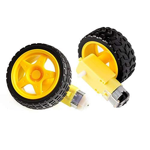YanHui-LZC Robust und langlebig, TT Motor Smart Car Roboter Getriebemotor for Arduino Kit Räder Smart Auto Chassis Motor Roboter Fernbedienung Auto DC Getriebe Motor Zubehör (Color : Yellow)