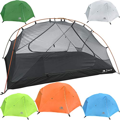Hyke & Byke 2 Person Backpacking Tent with Footprint - Lightweight Zion Two Man 3 Season Ultralight, Waterproof, Ultra Compact 2p Freestanding Backpack Tents for Camping and Hiking (Orange)