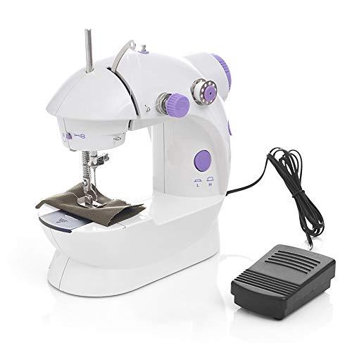 WXJHA Máquinas de Coser eléctrica de múltiples Funciones, Mini portátil de Doble Pedal de Doble Velocidad automático del Hilo Máquina de Coser la Banda de rodamiento de rebobinado con Set de Costura