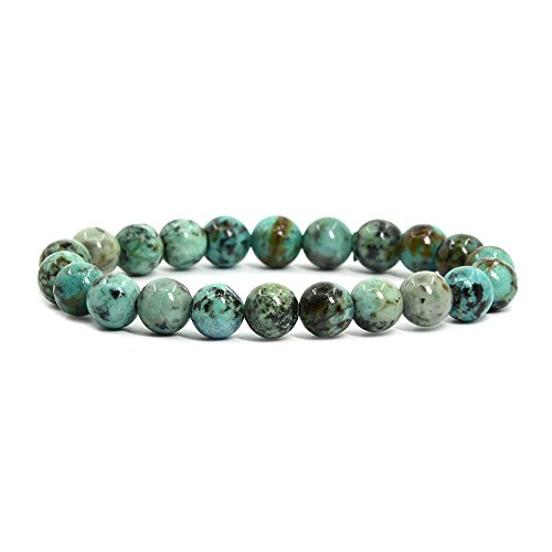 Natural African Turquoise Gemstone 8mm Round Beads Stretch Bracelet 7 Inch Unisex