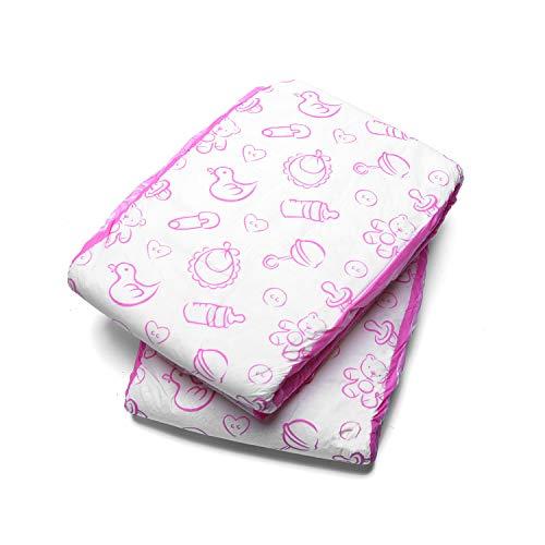 LittleForBig Gedruckten Erwachsenen Slip Windeln 2 Stück-Kindergarten Rosa L