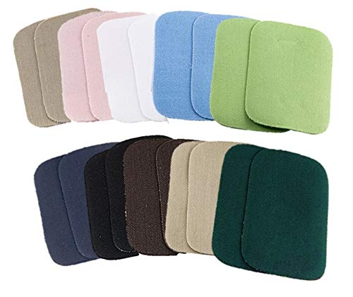 """Iron On Patches for Clothing Assortment of 10 Colors, 2"""" x 3"""", with One Iron-On Mending Fabric 6 1/2"""" x 14"""" (2 x 3 Inches)"""