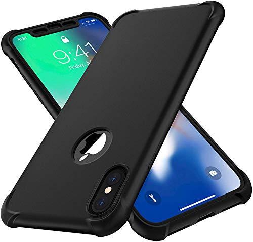 ORETECH Funda Compatible con iPhone XS MAX, con 2 x Protector de Pantalla de Vidrio Templado Carcasa para iPhone XS MAX Silicona Ligera Delgado PC TPU Bumper Rubber Caso para iPhone XS MAX 6.5 Negro