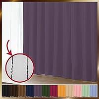 窓美人 1級遮光カーテン&UV・遮像レースカーテン 各1枚 幅150×丈190(188)cm ヴァイオレット+ピュアブラック 断熱 遮熱 防音 紫外線カット