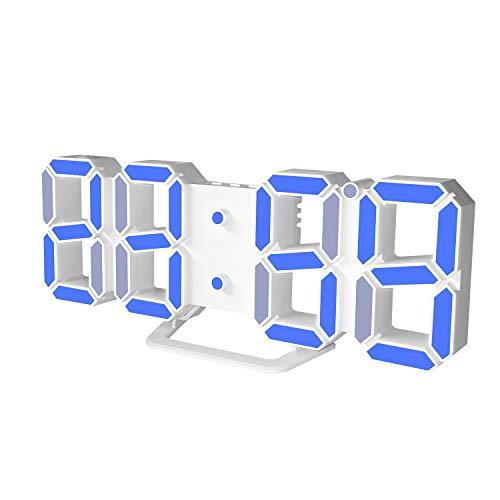 DollaTek 3D Reloj Despertador LED Pantalla de Fecha Temperatura Digital Snooze Mesa Colgante de Pared - Concha Blanca Palabra Azul
