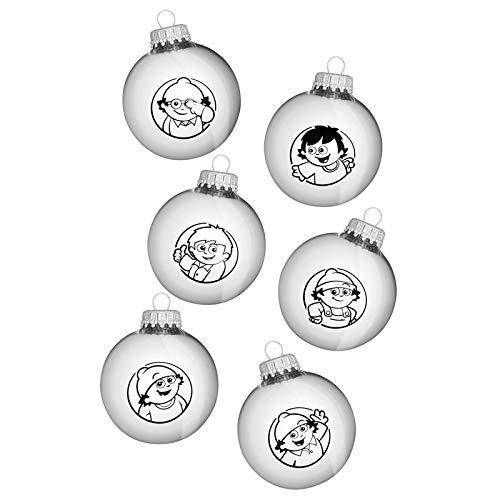 Mainzelmännchen Weihnachtskugeln Silber glänzend