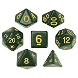 Wiz Dice Blighted Grove Juego de 7 dados poliedrales, Solid Hunter Green Mesa RPG Dados con caja de presentación transparente