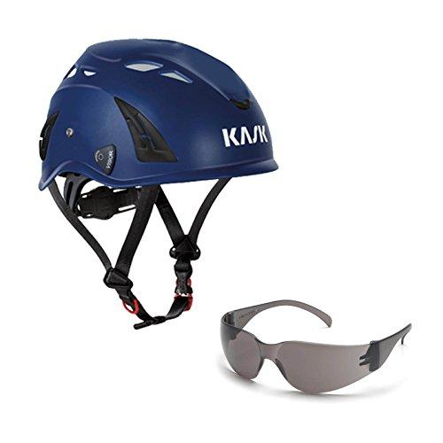 KASK Schutzhelm, Bergsteigerhelm, Industriekletterhelm Plasma AQ - Arbeitsschutz-Helm + Schutzbrille grau - EN 397, Farbe:dunkelblau