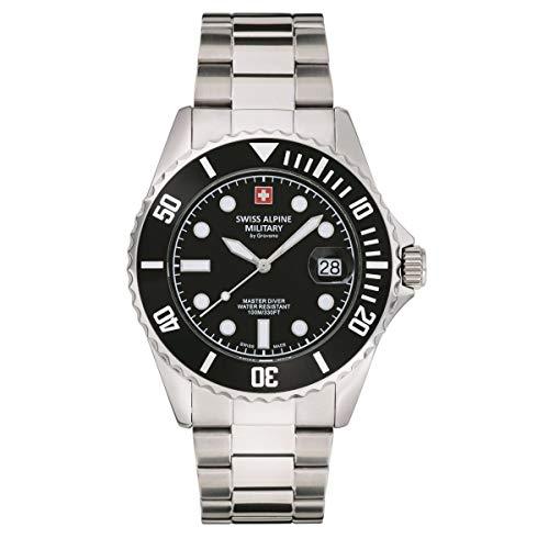 Swiss Alpine Military Master-Diver 7053.1 - Reloj de pulsera analógico para hombre, mecanismo de cuarzo, acero inoxidable