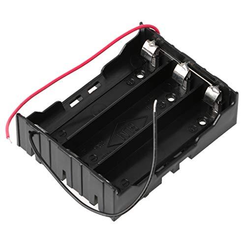 Baodanjiayou 3,7 V Parallel 3 x 4 x 18650 Batterien Halter Box Aufbewahrungsbox mit Draht, Schwarz , 3x 18650