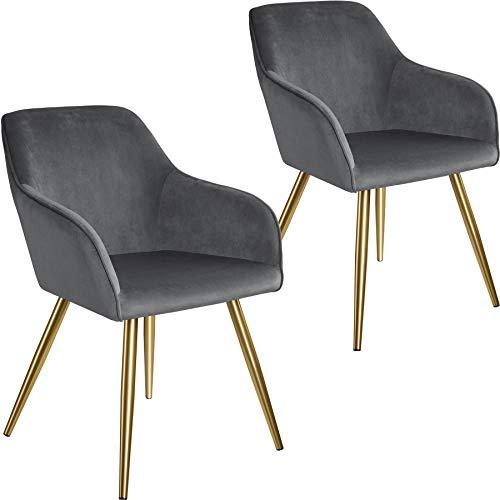 tectake 800861 2er Set Esszimmerstuhl mit Armlehnen, gepolstert, Sitzfläche aus Samt, goldene Metallbeine, für Wohnzimmer, Esszimmer, Küche und Büro (Dunkelgrau Gold   Nr. 404010)