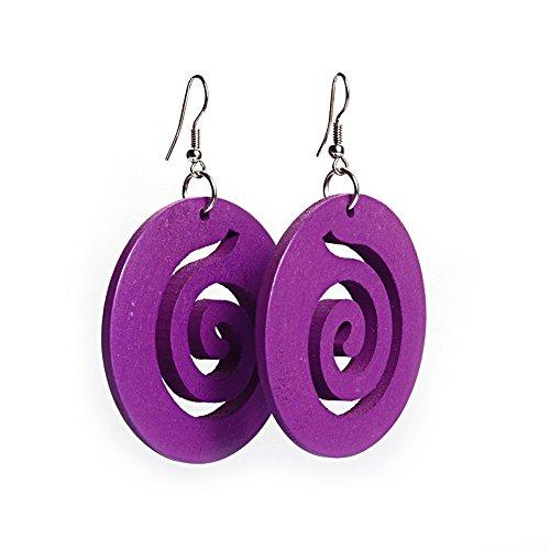 Viola Spiral Cut out design in legno orecchini a cerchio