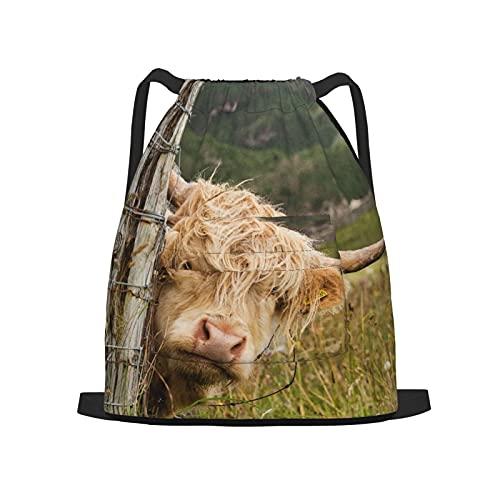 Zaino sportivo con coulisse,Highlander scozzese in Scozia, Zaino da palestra per borsa a tracolla da campeggio da viaggio per uomo, donna, bambino.