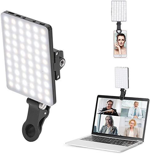 Newmowa 60 LED Videolicht, 3200-5600K 3 Lichtmodi und Helligkeit 10-stufiges dimmbares CRI95 + High Power Panel-Licht, eingebauten Akkus für Phone, iPhone, Android, iPad, Laptop