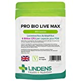 Lindens Pro Bio Live Max 6 Billion CFU Capsules - 100 Pack - Contributes to a Healthy Gut and Supports Digestion - Probiotic Vegetarian Capsules - UK Manufacturer, Letterbox Friendly