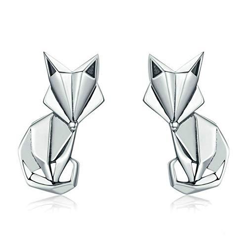 Animal Origami Fox Pendientes Mujer Anti-alergia Silver Nails