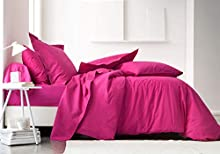 TODAY Sábana Bajera-90x190 cm Color Rosa, 100% algodón, Jus de Myrtille, 190x90x0.1 cm