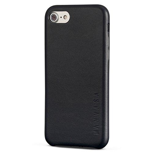 KANVASA iPhone SE 2020 Hülle/iPhone 7 / iPhone 8 Lederhülle Schwarz Skin Leder Case Hülle Ledertasche Luxus Echtleder Cover für Original Apple (4,7