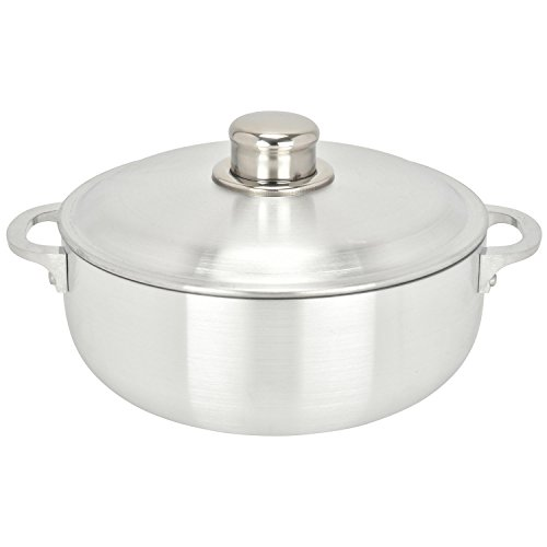 ALUMINUM CALDERO STOCK POT by Chef Pro, Aluminum, Superior Cooking Performance for Even Heat Distribution, Perfect For Serving Large and Small Groups, Riveted Handles, Commercial Grade (3.8 Quart)