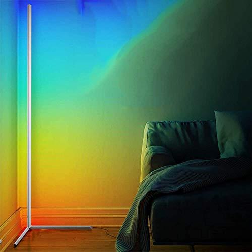 WFWPY LED Eck Stehlampe Moderne Minimalist RGB Dimmbare Stehleuchte Bunt Inneneinrichtung Beleuchtung mit Fernbedienung Kann im Schlafzimmer Wohnzimmer Büro Gang,Weiß,140cm