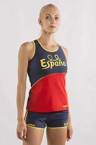 dvillena | Camiseta Gimnasia España Mujer Corte Moderno y Espalda Cruzada | Actividades Deportivas o Tiempo Libre, Yoga, Pilates | Camiseta para Entrenar Niñas, Adolescentes o Adultos