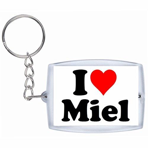 Druckerlebnis24 Schlüsselanhänger I Love Miel in Weiss - Exclusiver Geschenktipp zu Weihnachten Jahrestag Geburtstag Lieblingsmensch