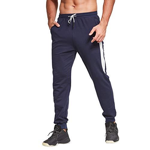 JustSun Jogginghose Herren Baumwolle Trainingshose Sporthose Herren Blau Large