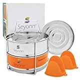 Seyonn Stackable Steamer Insert Pans, 2 BPA-Free Food Steamers Inserts, Stainless Steel, Food Grade with Lid, Handle for 5,6,8 qt, Pots, Pressure Cookers or Crock Pots, with Bonus Silicone Mitts