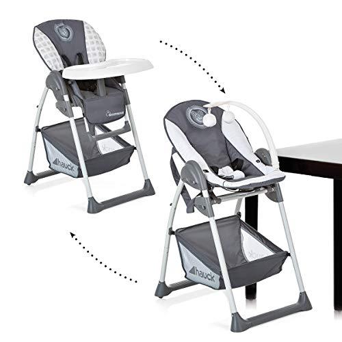 Hauck Sit'n Relax Newborn Set – Neugeborenen Aufsatz und Kinderhochstuhl ab Geburt, mit Liegefunktion / inkl. Spielbogen, Tisch / höhenverstellbar, mitwachsend, klappbar, mickey cool vibes grau