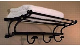 Medium Size Oil Rubbed Bronze Paris Hotel Train Rack Style Towel Shelf with Robe Hooks