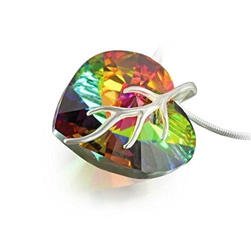 Plata con colgante de con cristales de Swarovski Original colgante de corazón con texto, Multicolor 18 mm, en caja regalo diseño de muñeco con auriculares Ideal para mujeres o Friend