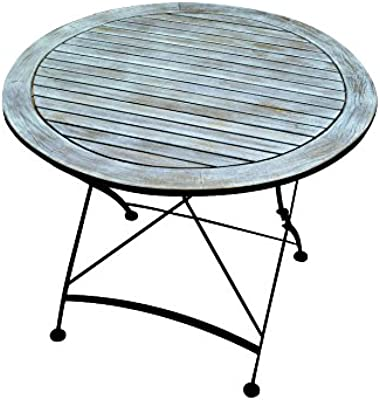 Mesa de jardín vintage, mesa de terraza, mesa de bistro, mesa plegable, diámetro de 90 cm, shabby, retro, azul, azul marino, azul: Amazon.es: Hogar